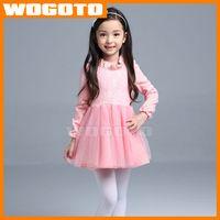 2016 Moda edición de Han del otoño niños del vestido de los niños del traje de la princesa de manga larga vestido del niño de la falda de algodón engrosamiento Vestido de encaje 100% HQ