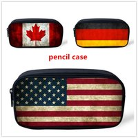 american flag pens - Fashion vintage flag printing large capacity children pencil case American flag school supplies pens holder students pencil bags