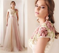 Reference Images A-Line Crew 2015 Flower Applique Prom Dresses Short Sleeve A Line Floor Length Sequin Upper Part Dubai Evening Dress Tulle Beading Prom Gowns Arabic