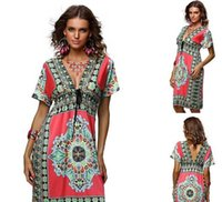 Cheap Casual Dresses Bohemian Dress Best Bohemian Dresses Summer Print Hippie V-Neck