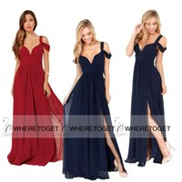 Cheap 2015 Fashionable A Line Navy Blue Burgundy Cap Sleeve V Neck Long Chiffon Evening Dresses With Side Slit Formal Prom Gowns SD186
