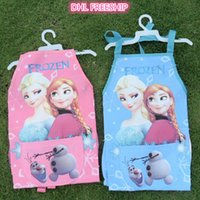 Wholesale 2014 hot frozen elsa anna Aprons and oversleeves piece set suits kids water proof apron mum s cartoon cooking smock J101003 DHL freeship