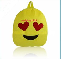 Wholesale Lovely Emoji Smiley kid School Bags children yellow backpack new style for hot selling Christmas gifts