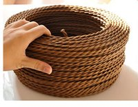 electrical wiring - 100meters Copper Cloth Covered Wire Vintage Style Edison Light Lamp Cord Grip Twisted Fabric Lighting Flex Electric Cable