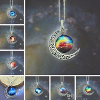 Wholesale Top Sale Moon Necklace Jewelry Colorful Starry Glass Hollow Galaxy Moon Universe Gemstone Pendant Necklaces Silver Chain Mix Style