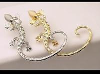 Wholesale Cheapest Popular Fashion Jewelry Ear Cuff Earrings Women Gecko Diamond Rhinestone Gold White Ear Cuffs On Ears Fast Shipping