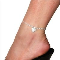 Wholesale Charm Love Heart Star Wedding Sandal Beach Silver Anklet Chain Summer Foot Jewelry Anklets For Women Girl T498