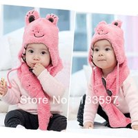 Wholesale Baby Children Cute Frog Hat Scarf Kids Set Cashmere Animal Cap Years for