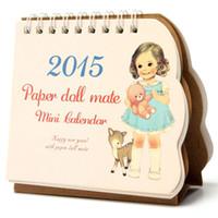 Wholesale 2015 Cute Min Doll Paper Table Calender Office Desktop Planner Stand Flip Monthly Desk Decor Pad