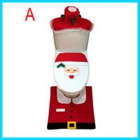 Wholesale Happy Santa claus toilet cover bathroom sit tank cover bath accessories christmas decoration bano set universal size