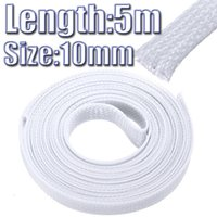 Wholesale 10mm M inch PET Braided Expandable Auto Wire Cable Gland Sleeves Sleeving High Density Sheathing White
