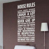 Removable art house designs - House Rules Vinyl Inspirational Quotes Wall Stickers Wall Decal Art Mural