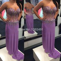 rhinestone see through dress - abendkleider crystal graduation see through prom dress Sweetheart Beaded Rhinestones Plus size Chiffon Purple Evening gown