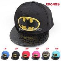 Wholesale 6 Colors Baby Boys Girls Batman Flat Sun Caps Casquette Kids Sport Hats Hip Hop Snapback Baseball Caps