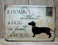 Wholesale Retro Tin painting Tin sign classic a home without a dog bar wall decoration home decoration Poster