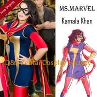 Wholesale DHL Adult Ms Marvel Kamala Khan Superhero Costume Halloween Party Cosplay Lycra Spandex Zentai Suit SH2329
