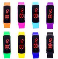 al por mayor toque llevado relojes baratos-2015 Deportes rectángulo llevó relojes digitales de la pantalla táctil de goma pulseras de silicona de la correa de muñeca relojes baratos