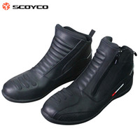 authentic riding boots - 2016 New Authentic SCOYCO motorcycle racing boots winter warm leather boots knight riding off road race shoes black color size