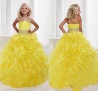 2015 Pagent robes Grils une épaule jaune organza robe boule plissé cristal coloré écharpes perlé princesse robes robes formelles pour fille
