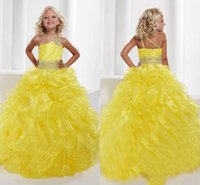 al por mayor niñas vestidos formales pagent-2015 Pagent Vestidos Grils Uno-Hombro Amarillo Organza Ball Gown Plis Coloridos Crystal Sashes rebordeado Princesa Vestidos Formal Vestidos para niña