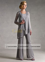 suit jacket pants - Silver Gray Chiffon Plus Size Mother Of the Bride Dresses with Long Sleeve Jacket New Fashion Mother s Occasion Pant Suit