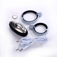 Wholesale Electric shock double penis ring pulsed electron cock rings Male flat ring massager adult masturbation toys