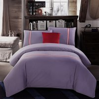 best hotel bedding - Best Selling Goods Cotton Bedding Sets Light Purple Solid Printed Queen King Size Duvet Cover Bed Sheet Pillow cases