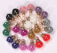 Wholesale New Colors Summer Style Glass Stud Earring Pearl Fine Jewelry Fashion Transparent Crystal Ball Earrings For Women CS11