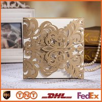 invitation - Lace Hollow Wedding Invitation Card Gold Personalized Wedding Invitations Customizing Printing HQ0051