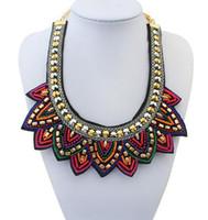 Wholesale Statement Necklace Nepal Tibetan Style Resin Bead Bohemian Necklaces Pendants Vintage Handmade Braided Colorful Bead Bib Collar Necklace