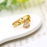 heart wedding jewelry - Designed NEW Zircon Love Heart Drop Pendant Letter LOVE YOU Bowknot Ring K Gold Plated Fashion Wedding Gold white Jewelry J0012