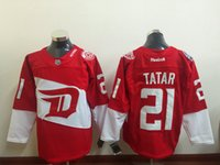 2016 New Stadium Series Detroit Red Wings 71 Dylan Larkin 14 Gustav Nyquist 21 Tomas Tatar Maillot rouge Maillot de glace hiver Maillot cousu
