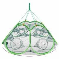 automatic trap - Foldable Minnows Shrimp Crawfish Net Holes Automatic Open Shrimp Lobster Fishing Bait Trap Cast Net Cage x85x40cm Y2267