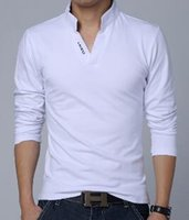 brand golf shirt - MilanMen t shirt polo golf Stand collar New Fashion Brand Clothes Solid Color Long Sleeve Slim Fit T Shirt Men Cotton T Shirt CasualT Shirts