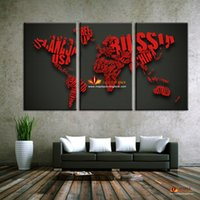 modern panel piece - 3 Piece Hot Sell Painting On Wall Home Decoration Wall Art Word Map Modern Wall Decor Painting Canvas Picture Art HD Print Painting Set