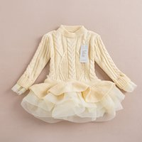 Wholesale Children s Pullover Baby Girls Sweaters Dress Kids Knitted Sweater with Tulle Dress Girls Jumper Sweater Top Quality