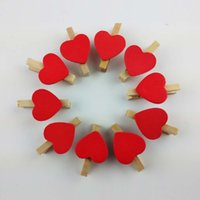 Wholesale 20pcs Red Mini Wooden Pegs Love Heart Small Clips Multicolor home decor gift