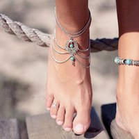 bead anklet designs - 12pcs Multi Layer Retro Design Anklets Hollow Beads Droplet Pendent Foot Chains Ladies Beach Wedding Jewelry jc101