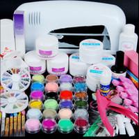 Wholesale Nail Dryer w Uv Dryer Lamp Colors Acrylic Powder Nail Art Kit Gel Tools Full Set New