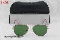 Wholesale 50pcs New Mid Size style fashion Men s Women s brand sunglasses Designer Sunglasses Pink frame green Lens glasses size