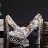 Wholesale European and American luxury bowknot tassel crystal High Heels Women Shoes with Pears Wedding Shoes