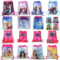 Wholesale Cartoon Drawstring Backpacks Cartoon Two sided Printed Non woven Bags Draw String Beam Pocket