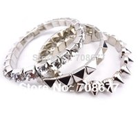 no min order - no min order Spike Stretch Bracelets Bangles Rivet Crystal for Women fashion jewelry branded