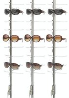 Wholesale LOC A B wall stand aluminum steel eyeglasses display rack shelf stand rod with lock hold pieces glasses
