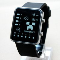plastic strap - LED screen minecraft watches for mens women plastic wristwatch watch strap cartoon creeper designer luxury watches Birthday Christma gift