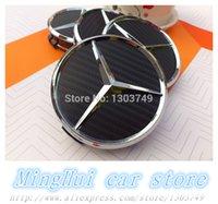 Wholesale 75mm car emblem Carbon fiber Wheel Center Hub Caps Wheel Dust proof badge covers Auto accessories