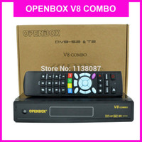 Wholesale 2pcs Openbox v8 Combo Satellite Receiver support web TV IPTV SET IP DLNA Biss key Card Sharing with DVB S2 DVB T2 TV Receiver