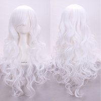 Girl best cheap costumes - 32inch Chinese best heat resistant synthetic cheap wavy hair women long white wig cosplay for costume party