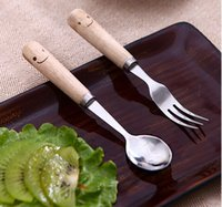 Wholesale Novelty smile Stainless Steel Flatware wood Spoon And Fork Set