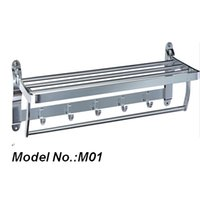 Wholesale 2015 New style stainless steel folding hotel style bathroom towel rack with hook model no M01
